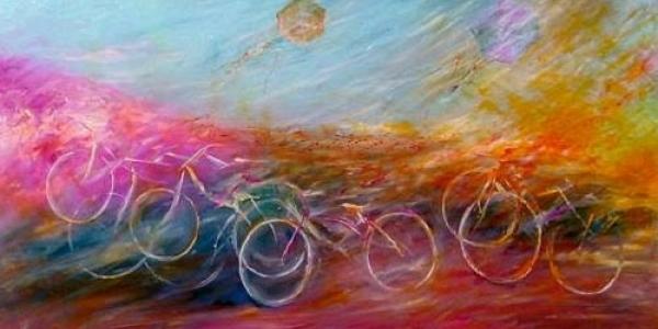 """""""Ποδήλατο παντού"""",  έκθεσης ζωγραφικής του Νίκου Μηλιώνη"""