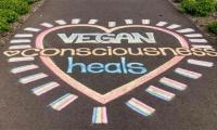 Vegan Chalking Night - μηνύματα ειρήνης, αγάπης και συμπόνοιας