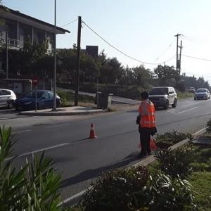 Ωραιόκαστρο: Εργασίες συντήρησης του πρασίνου στη νησίδα της οδού Θεσσαλονίκης