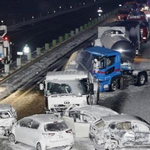 Καραμπόλα 130 αυτοκινήτων στην Ιαπωνία λόγω χιονοθύελλας